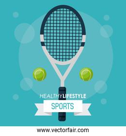 colorful poster of healthy lifestyle sports with tennis racket and balls