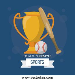 colorful poster of healthy lifestyle sports with baseball trophy