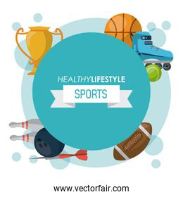 colorful poster of healthy lifestyle sports with blue round emblem
