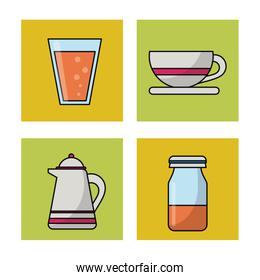 white background with frames of picnic elements with coffee jar and cup and bottle and cup with juice
