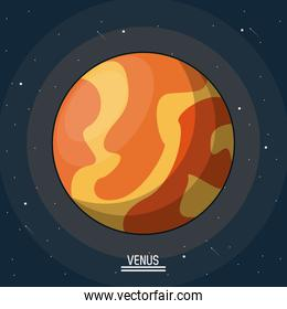 colorful poster of the planet venus in the space