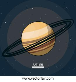 colorful poster of the planet saturn in the space with rings around