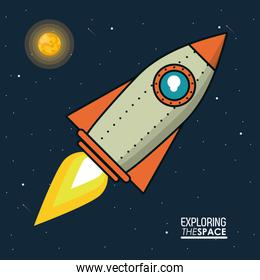 colorful poster exploring the space with spaceship and sun