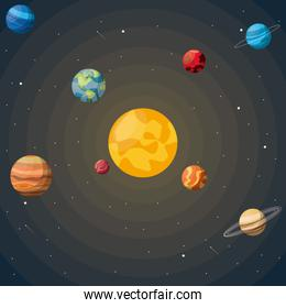 colorful background of the solar system