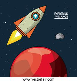 colorful poster exploring the space with spaceship over planet mars