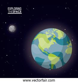 colorful poster exploring the space with planet earth and small moon