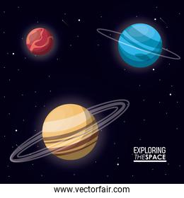 colorful poster exploring the space with planets saturn uranus and mercury