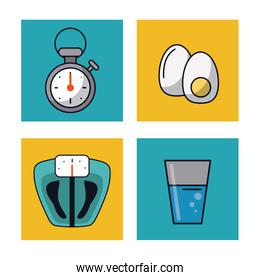 white background with frames of healthy lifestyle with chronometer and weight scale and glass of water and boiled eggs