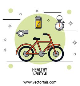 colorful poster of healthy lifestyle with bicycle in closeup and whistle battery and chronometer on top