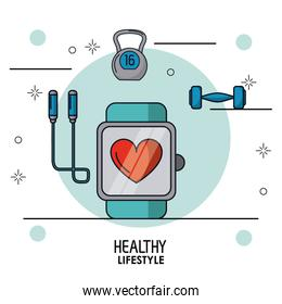colorful poster of healthy lifestyle with clock pulsation monitoring in closeup and dumbbell and jump rope on top