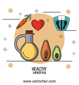 colorful poster of healthy lifestyle with vegetal oil bottle and weight scale and carrot papaya avocado and heart