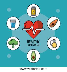 blue poster of healthy lifestyle with heart pulse and healthy icons around