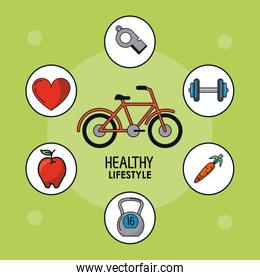 light green poster of healthy lifestyle with bicycle and healthy icons around
