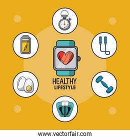 light orange poster of healthy lifestyle with clock pulsation monitoring and healthy icons around