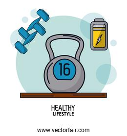 white background poster of healthy lifestyle with kettlebell weight and dumbbells and battery icon on top