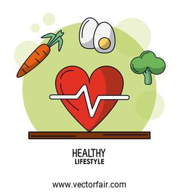 white background poster of healthy lifestyle with heart pulse icon and carrot and egg and broccoli on top