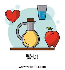white background poster of healthy lifestyle with vegetal oil bottle and glass of water and apple and heart