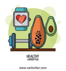 white background poster of healthy lifestyle with clock pulsation monitoring and dumbbell and papaya and avocado