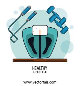 white background poster of healthy lifestyle with weight scale control and jump rope and dumbbells