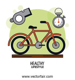 white background poster of healthy lifestyle with bicycle in closeup and whistle and chronometer on top