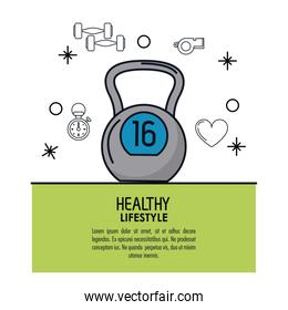 white background decorated of poster healthy lifestyle with kettlebell icon over green frame