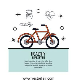 white background decorated of poster healthy lifestyle with bicycle icon over light blue frame