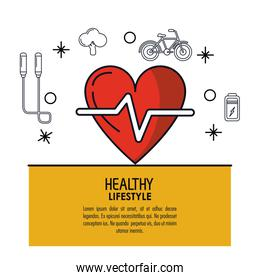 white background decorated of poster healthy lifestyle with heart pulse icon over light orange frame