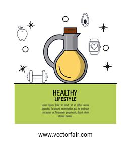 white background decorated of poster healthy lifestyle with vegetal oil bottle icon over light green frame