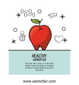 white background decorated of poster healthy lifestyle with apple fruit over light blue frame
