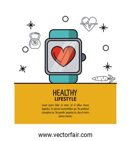 white background decorated of poster healthy lifestyle with clock pulsation monitoring over light orange frame