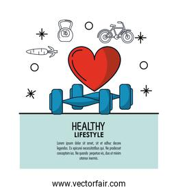white background decorated of poster healthy lifestyle with heart icon and dumbbells over light blue frame