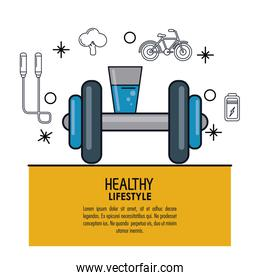 white background decorated of poster healthy lifestyle with glass of water and dumbbell over light orange frame