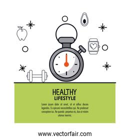 white background decorated of poster healthy lifestyle with chronometer icon over light green frame
