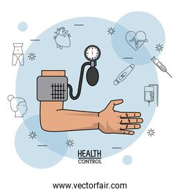 Poster white background with black silhouette icons of health control in background and colorful arm with blood pressure monitor in closeup