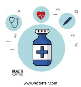 colorful Poster in white background with medicine bottle in closeup and silhouette icons of health control on top