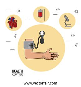 colorful Poster in white background with arm with blood pressure monitor in closeup and silhouette icons of health control on top