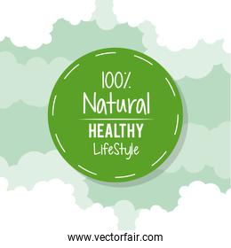 color background with circular green logo of one hundred percent natural healthy lifestyle