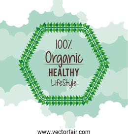 color background with hexagon logo of one hundred percent natural healthy lifestyle