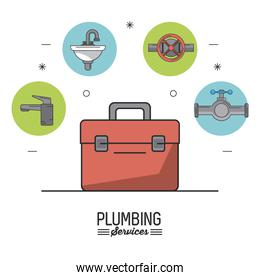 white background poster plumbing services with color toolbox in closeup and plumbing icons on top