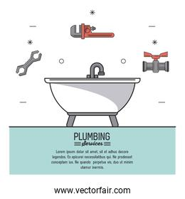 white background poster plumbing services with color bathtub in closeup and plumbing tools icons on top