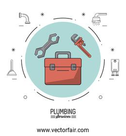 white background poster plumbing services with color circle with plumbing toolbox and pipe wrench and spanner
