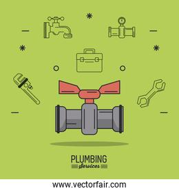 green background poster plumbing services with color stopcock
