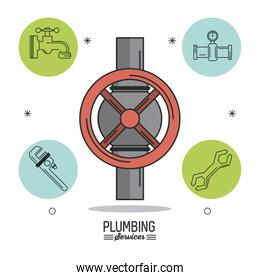 white background poster plumbing services with color stopcock and plumbing icons around
