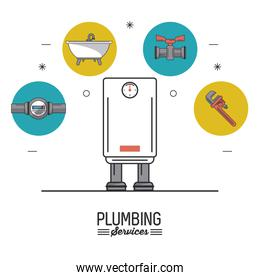 white background poster plumbing services with color water heater in closeup and plumbing icons on top