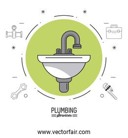 white background poster plumbing services with color circle with sink and plumbing icons