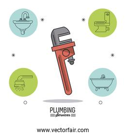 white background poster plumbing services with pipe wrench in closeup and bathroom icons