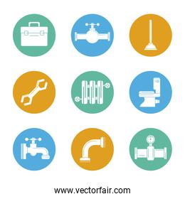 white background with color set of plumbing icons in circles