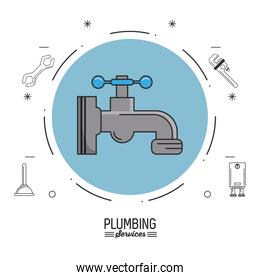 white background poster plumbing services with color circle with faucet and plumbing icons