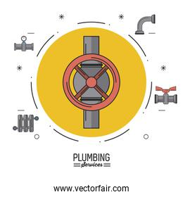 white background poster plumbing services with color circle with stopcock and plumbing icons around