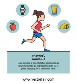 white background of poster woman health with woman running and icons on top
